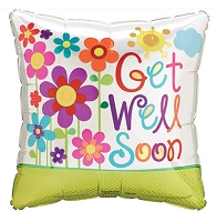 Get Well Soon Square Flowers Balloon
