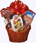 SNACK BASKET WITH TEXAS LONGHORNS KOOZIE