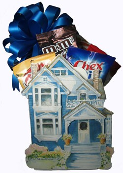 BLUE VICTORIAN COTTAGE BASKET